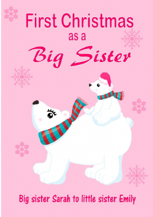 Personalised Big Sister to Little Sister Christmas Card Design 1